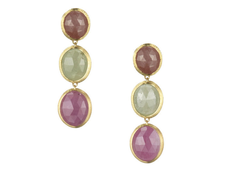 Marco Bicego Siviglia Collection multi-color sapphire earrings set in 18k yellow gold.
